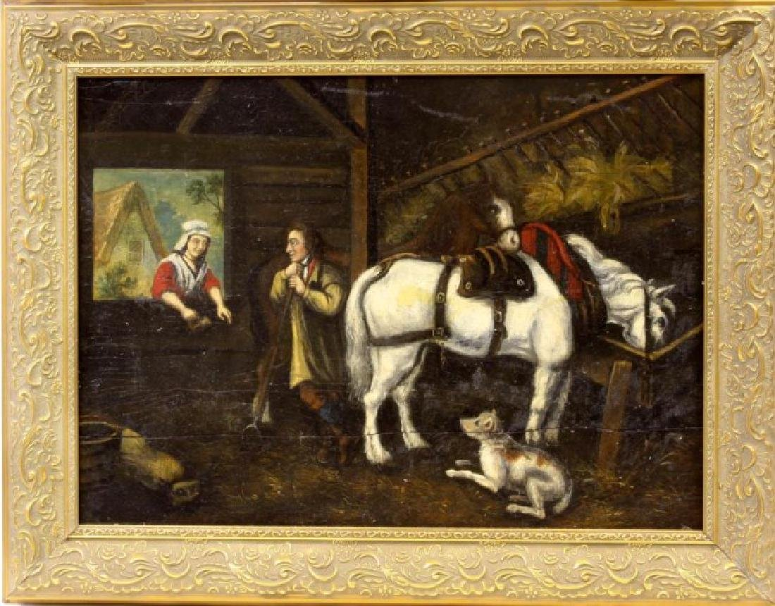18TH CENTURY FRAMED OIL PAINTING OF A HORSEKEEPER