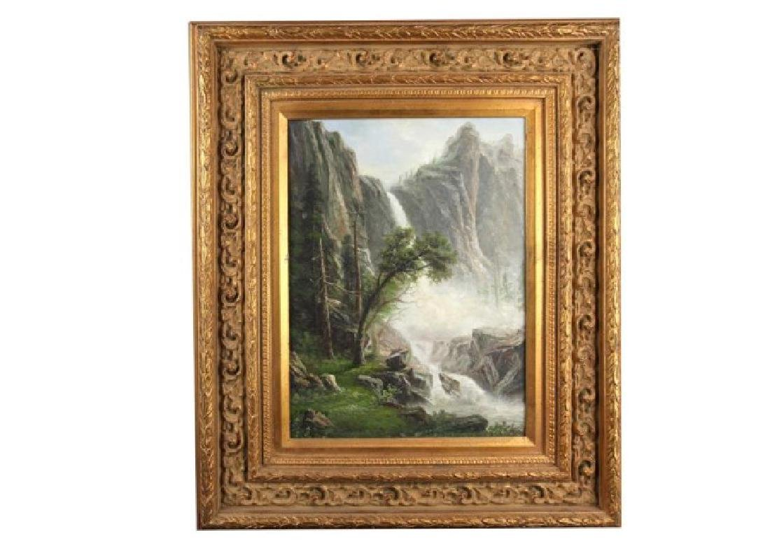 GILT FRAMED OIL ON CANVAS PAINTING OF LANDSCAPE