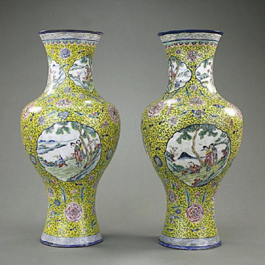 ANTIQUE PAIR OF CHINESE YELLOW GROUND ENAMEL VASES