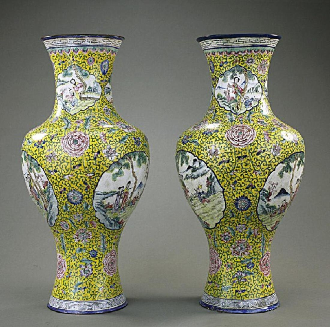 ANTIQUE PAIR OF CHINESE YELLOW GROUND ENAMEL VASES - 3