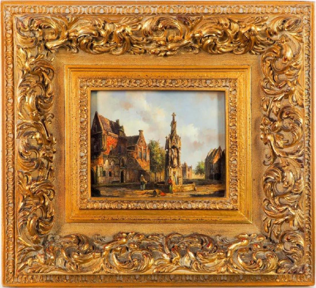 OIL PAINTING ON CANVAS OF A EUROPEAN VILLAGE