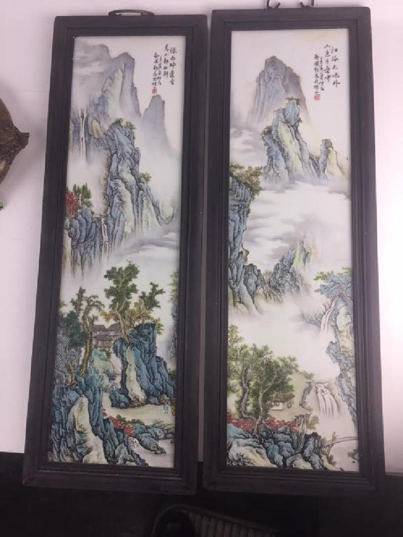 PAIR OF CHINESE PORCELAIN PANELS OF LANDSCAPE