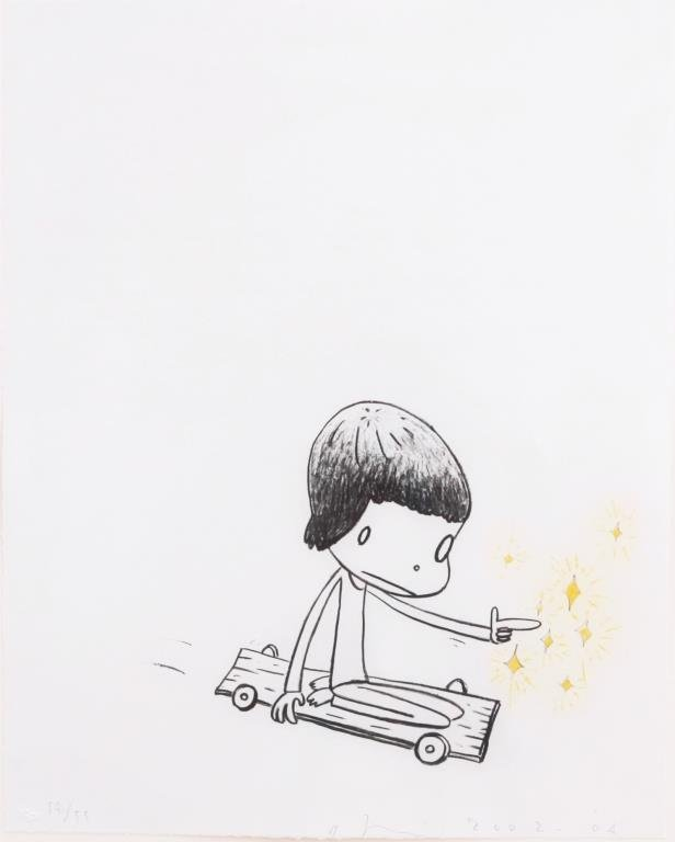 LITHOGRAPH OF A GIRL WITH SKATEBOARD - 2