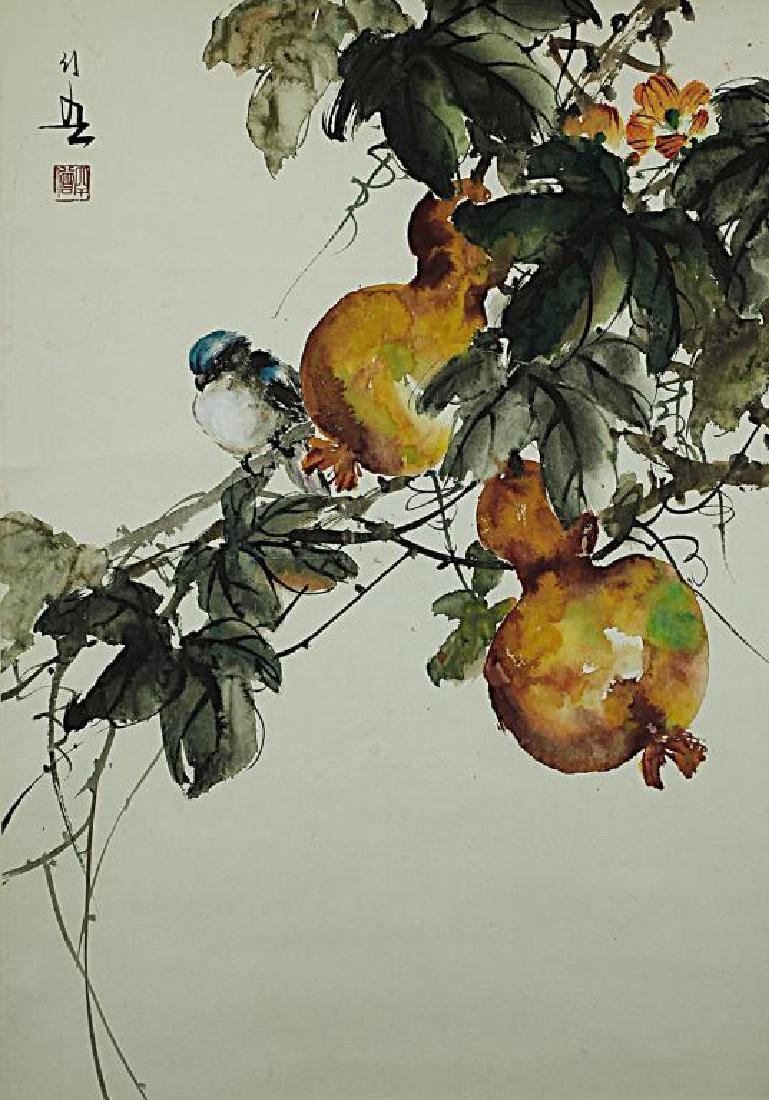 CHINESE SCROLL PAINTING OF DOUBLE GOURDS