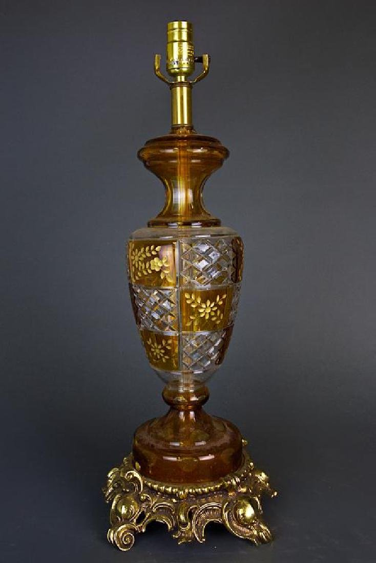 CUT GLASS AND GILTBRONZE LAMP