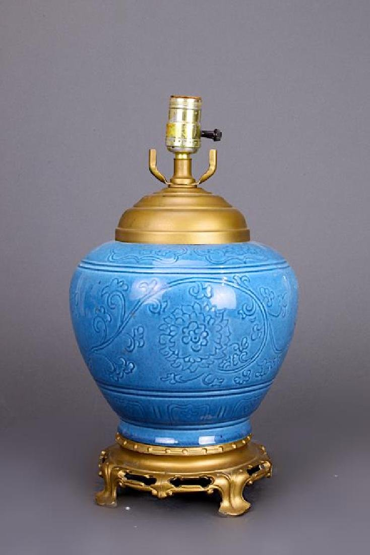 CHINESE BLUE PORCELAIN TABLE LAMP - 2