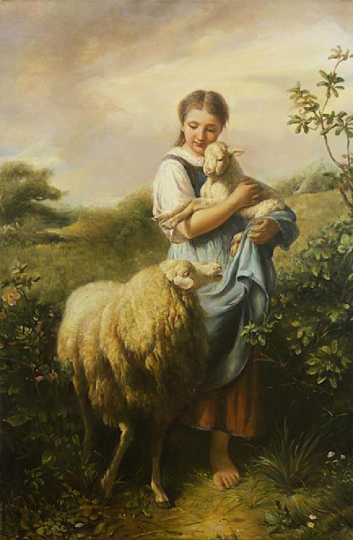 OIL ON CANVAS PAINTING OF A GIRL WITH SHEEP