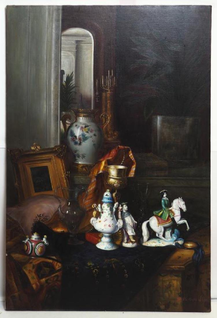 OIL ON CANVAS PAINTING OF STILL LIFE OF PORCELAIN