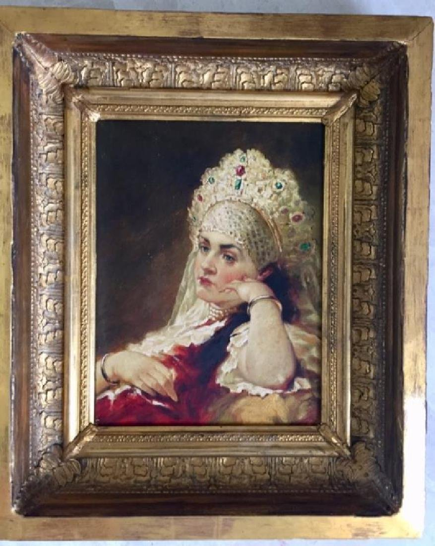 GILT WOOD FRAMED RUSSIAN OIL ON CANVAS PAINTING