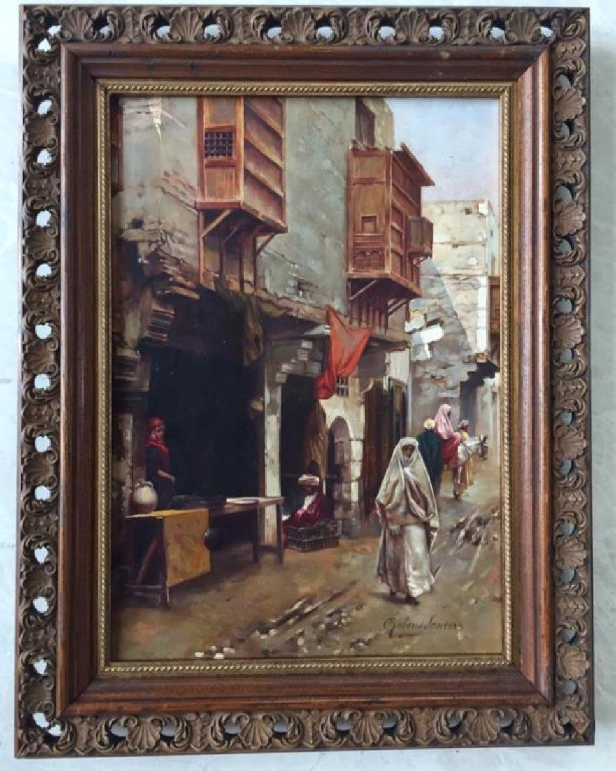 GILT WOOD FRAMED OIL ON CANVAS PAINTING OF A