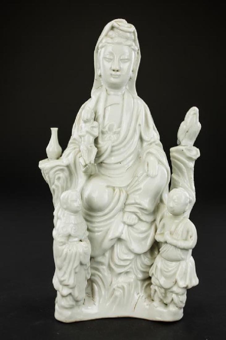18TH CENTURY BLANC DE CHINE FIGURE OF GUANYIN
