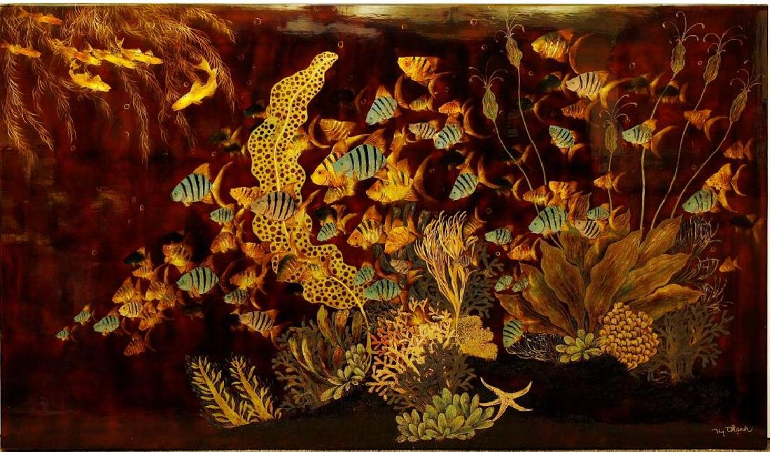 VIETNAMESE LACQUER PAINTING OF AN UNDERSEA SCENE
