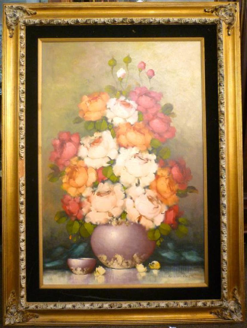 FRAMED OIL ON CANVAS PAINTING OF FLOWERS