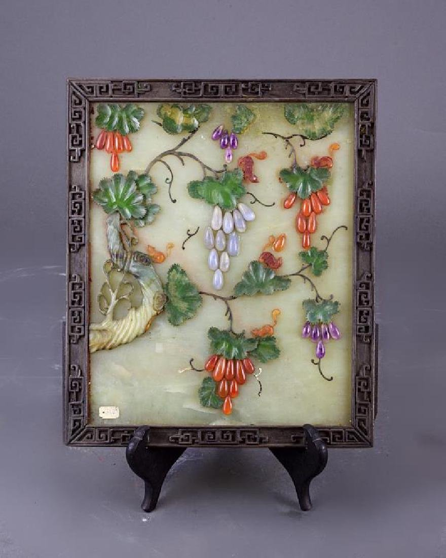 FRAMED CHINESE STONE SCREEN WITH GEMSTONE INLAYS