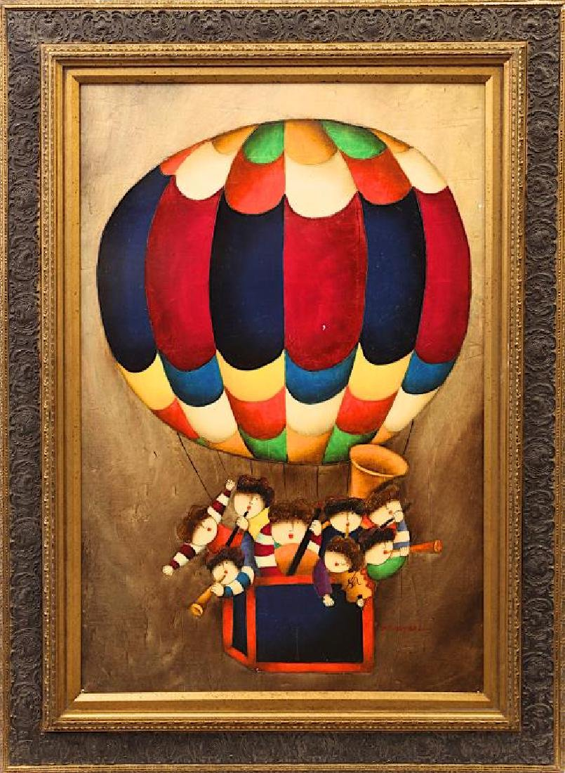 OIL ON CANVAS PAINTING OF CHILDREN IN HOT AIR BALLOON