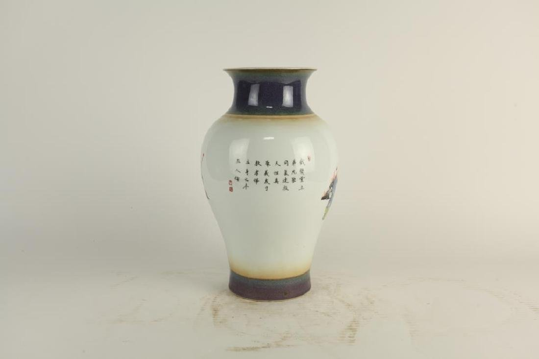 HAND-PAINTED OVOID FORM PORCELAIN VASE - 5