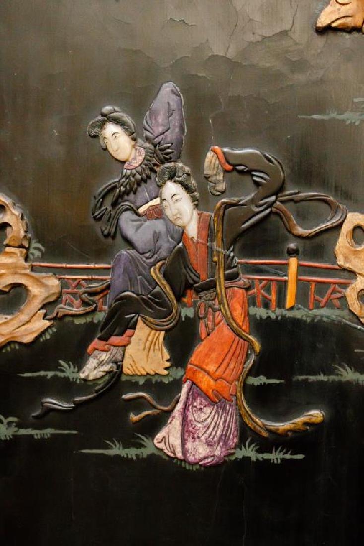 ANTIQUE SIX PANEL CHINESE FLOOR SCREEN - 3