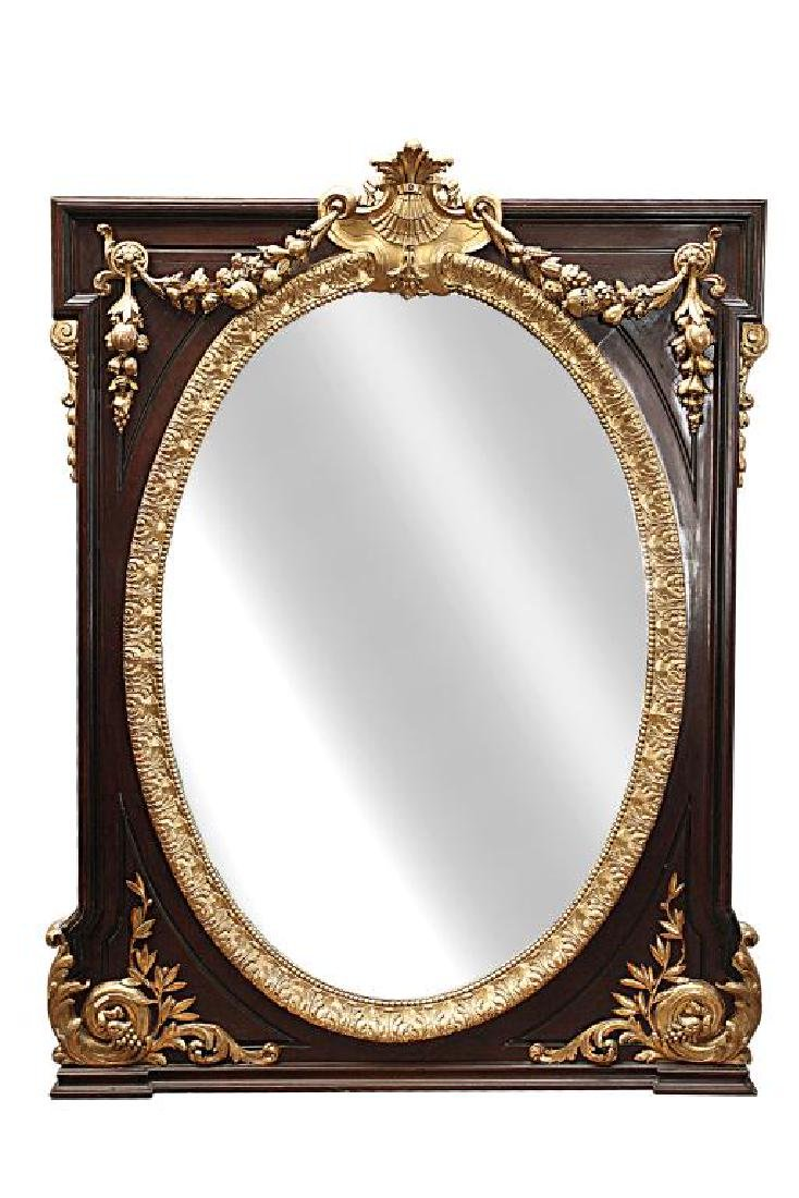 LARGE CARVED GILTWOOD MIRROR