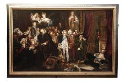 LARGE 19 CENTURY OIL PAINTING ON CANVAS
