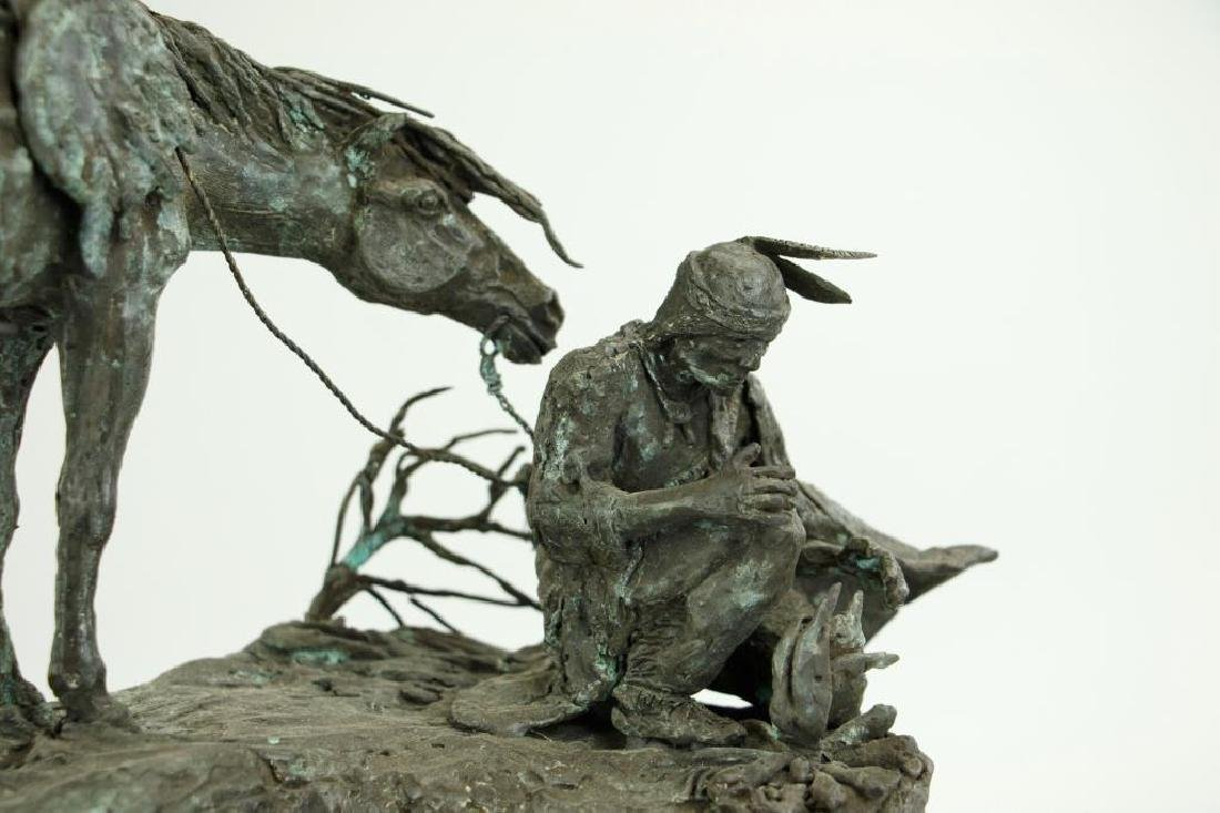 PATINATED BRONZE FIGURAL GROUP OF A MAN AND HORSE - 2