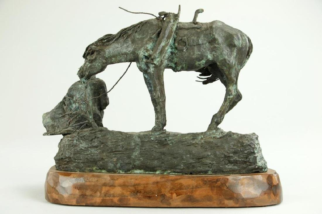 PATINATED BRONZE FIGURAL GROUP OF A MAN AND HORSE - 3