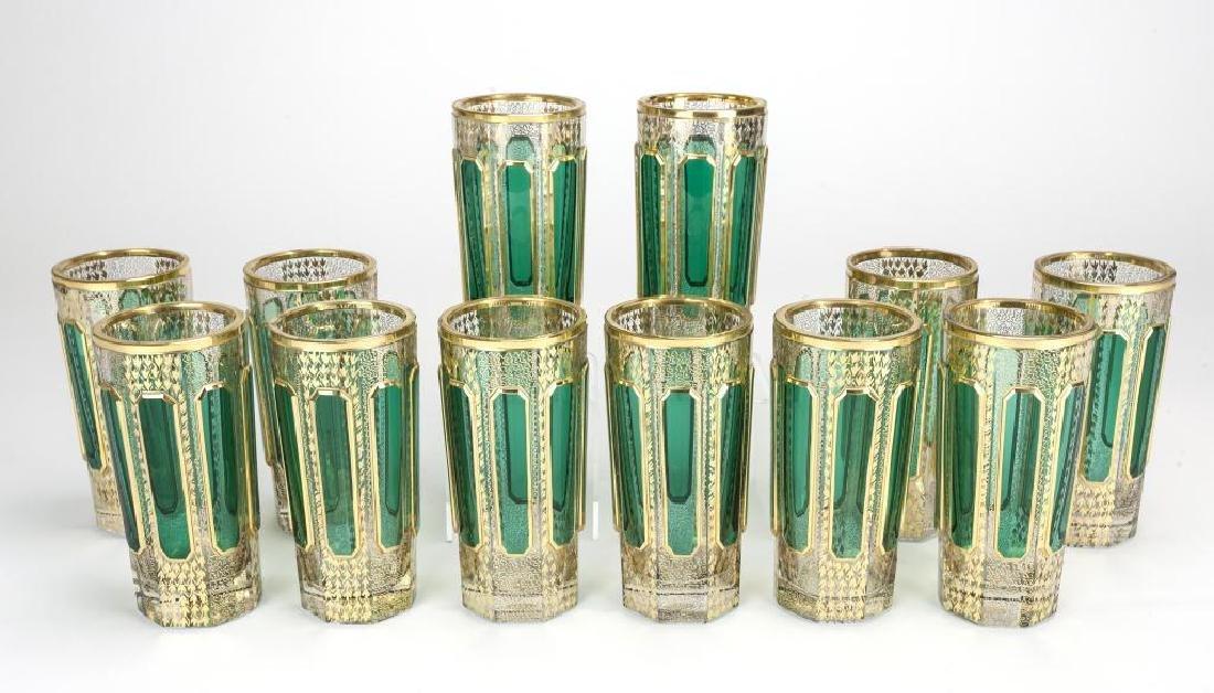 TWELVE GREEN OVERLAY GLASS GERMAN CUPS