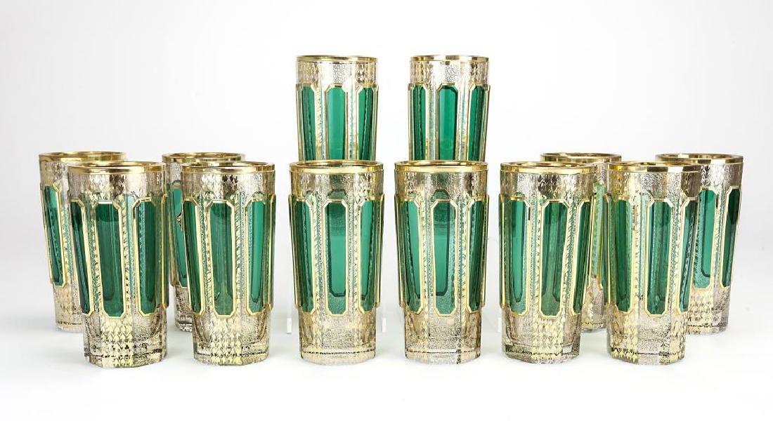 TWELVE GREEN OVERLAY GLASS GERMAN CUPS - 2