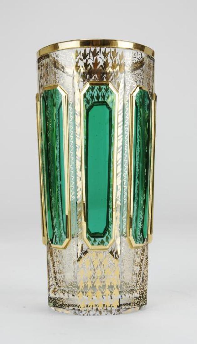 TWELVE GREEN OVERLAY GLASS GERMAN CUPS - 3