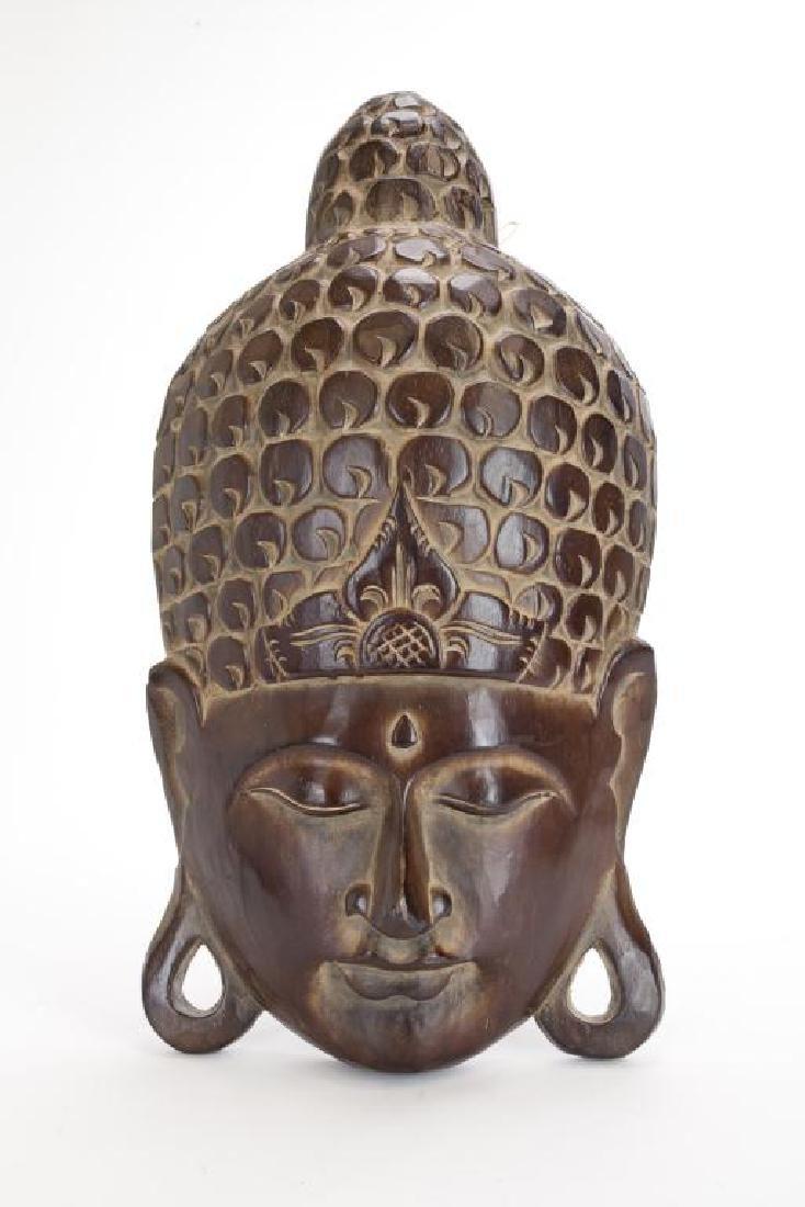 ANTIQUE CARVED WOOD BUDDHA HEAD
