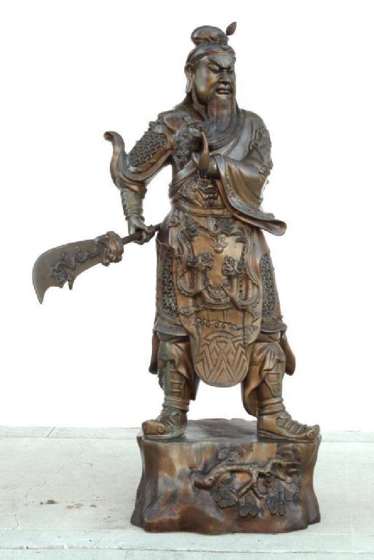 MASSIVE CHINESE BRONZE STATUE OF GUAN YU