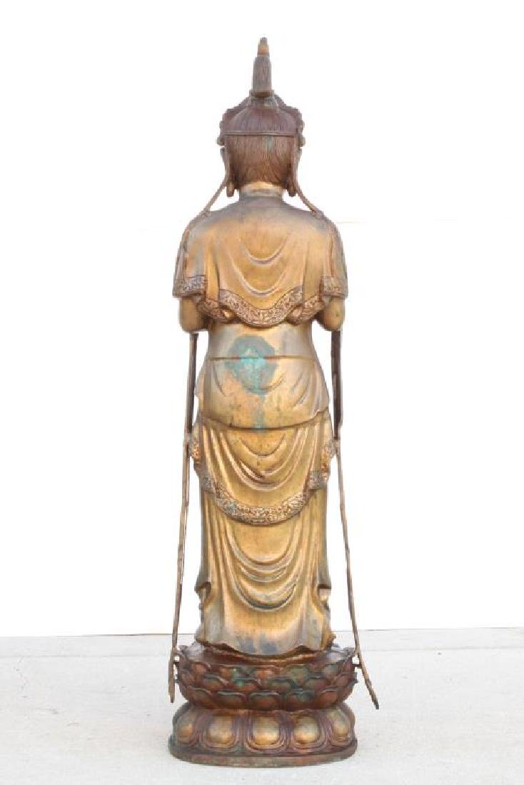 STANDING BRONZE GUAN YIN HOLDING A VASE OF NECTAR - 3
