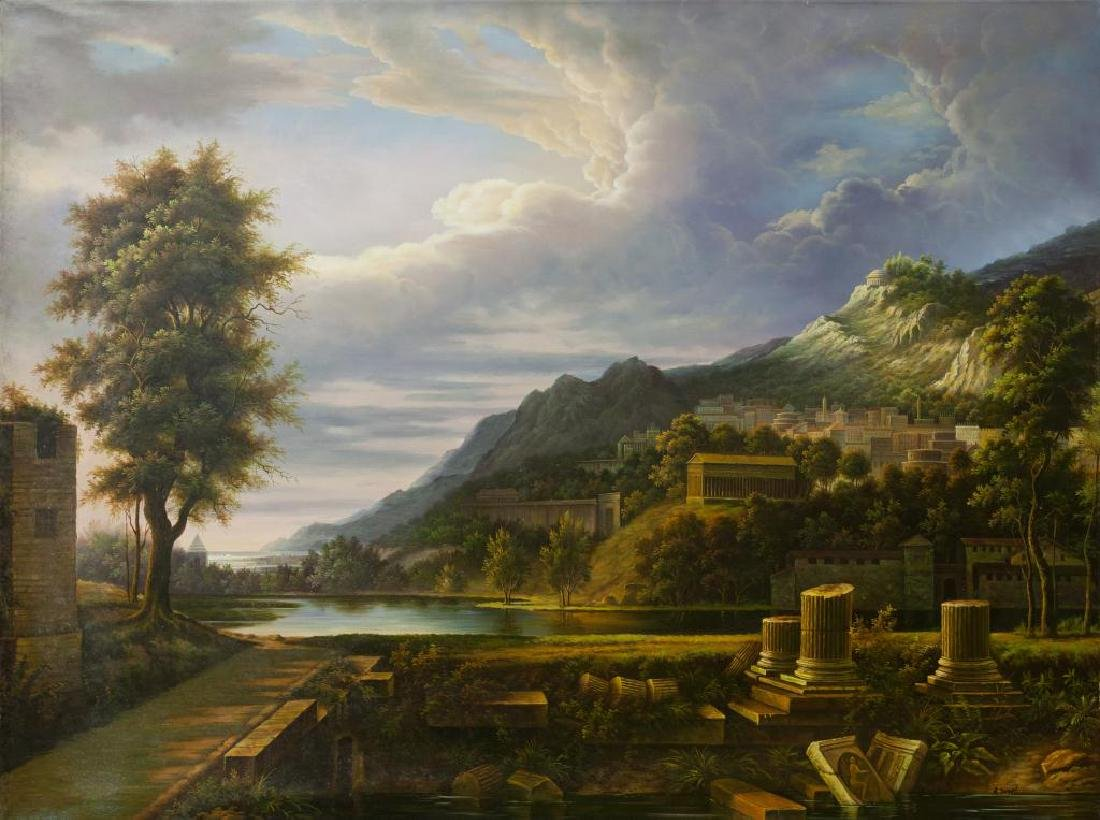 LARGE OIL PAINTING OF LANDSCAPE PAINTING, CLASSICAL