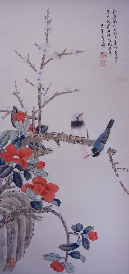 CHINESE SCROLL PAINTING OF FLOWER AND BIRDS