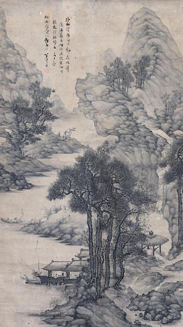 LARGE CHINESE SCROLL LANDSCAPE PAINTING