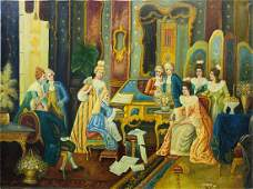 LARGE PAINTING OF A ROYAL PIANO RECITAL