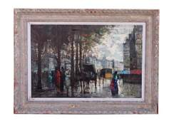 FRAMED OIL PAINTING OF A FRENCH STREET SCENE