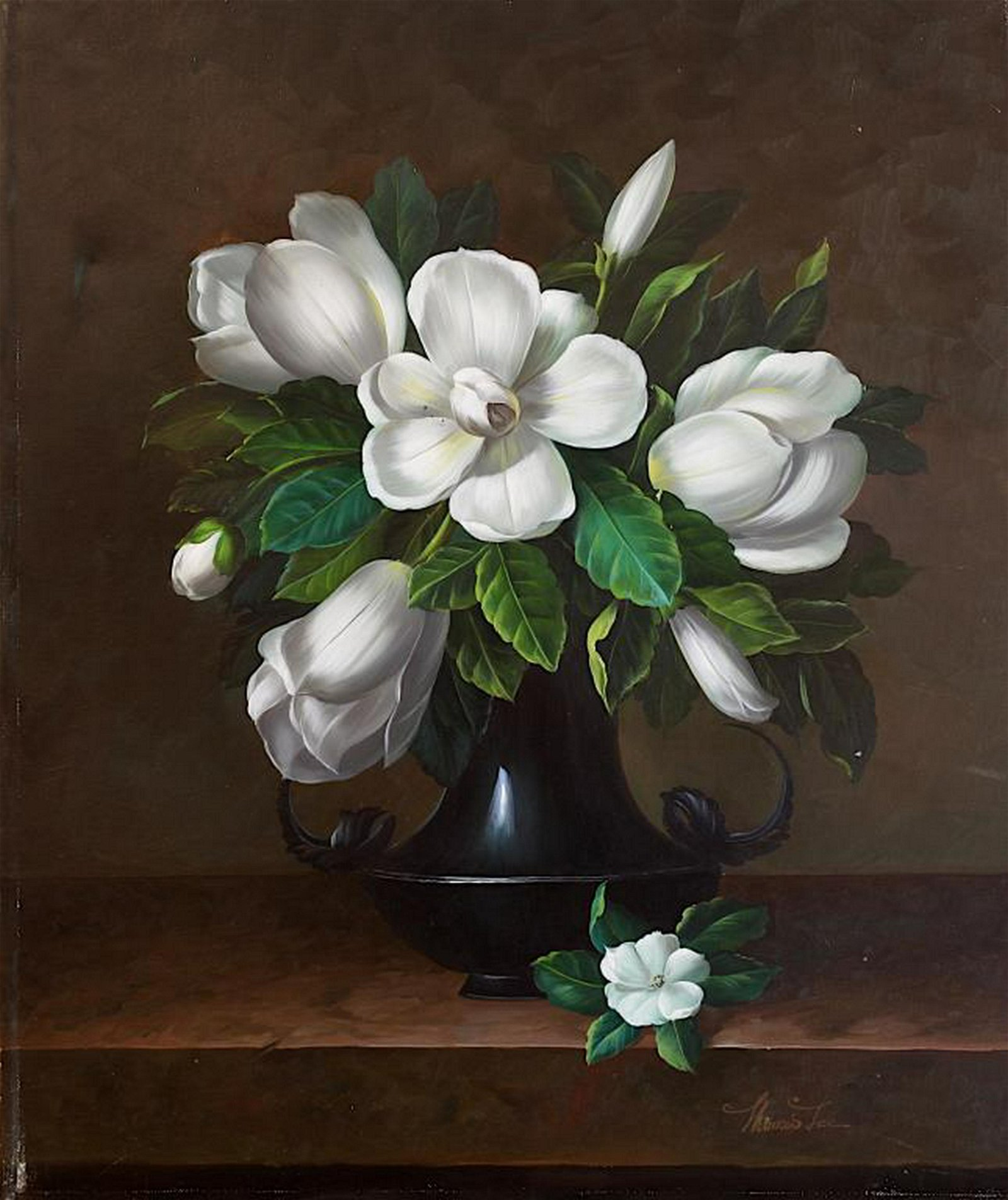 LiveAuctioneers & OIL PAINTING ON CANVAS OF WHITE FLOWERS IN VASE