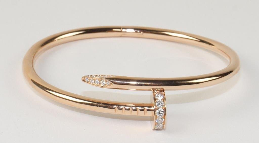 18K CARTIER-STYLE ROSE GOLD CUFF WITH DIAMONDS