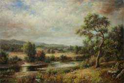 OIL PAINTING ON CANVAS OF AN AUTUMN LANDSCAPE