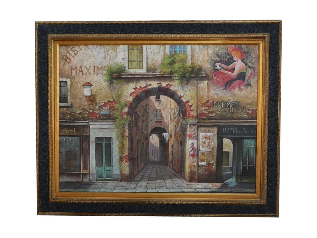 OIL ON CANVAS PAINTING OF A FRENCH TOWN