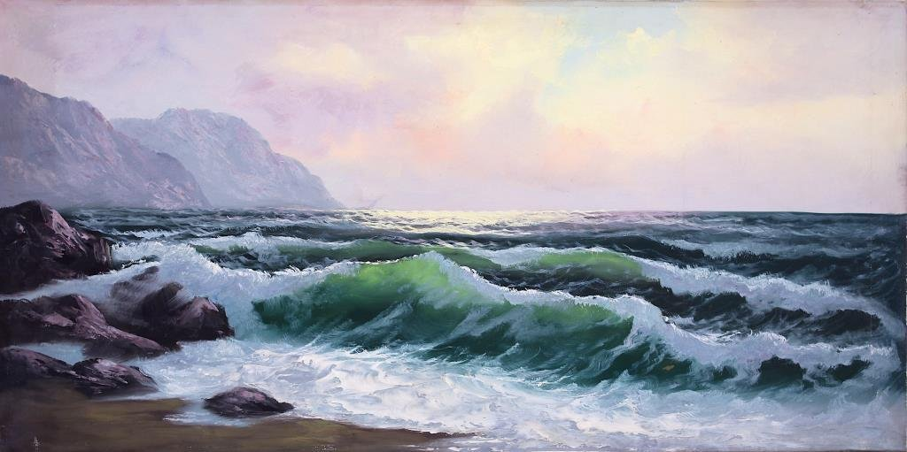 OIL ON CANVAS PAINTING OF SEASCAPE