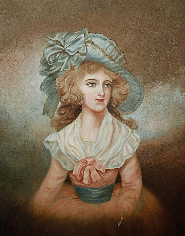 ANTIQUE OIL PAINTING ON CANVAS, PORTRAIT OF A LADY