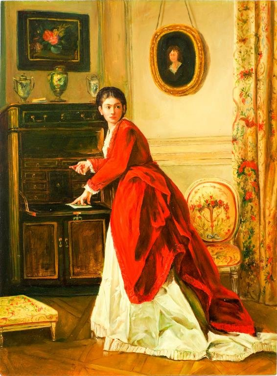 OIL PAINTING ON CANVAS OF A WOMAN IN RED DRESS