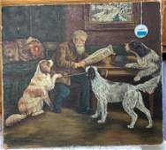 OIL PAINTING ON CANVAS OF AN OLD MAN READING THE NEWS