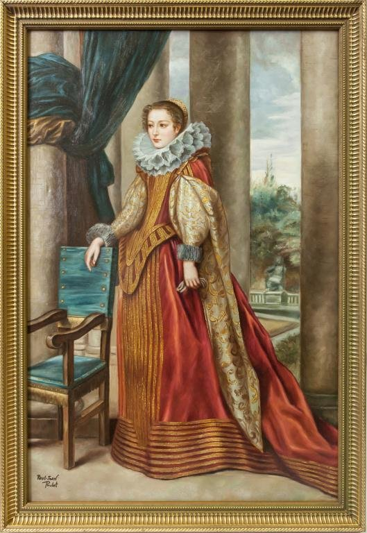 OIL ON CANVAS PAINTING PORTRAIT OF A NOBLE WOMAN
