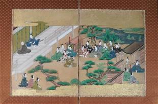 JAPANESE HAND-PAINTED MINIATURE SCREEN, MEIJI PD
