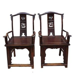 OLD PAIR OF CHINESE CARVED WOODEN CHAIRS
