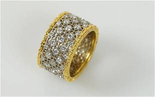 18K VINTAGE YELLOW GOLD WIDE BAND RING