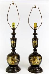 PAIR OF JAPANESE BRONZE LAMPS