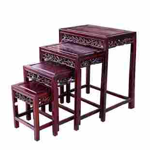 SET OF 4 CHINESE WOOD TABLE STANDS